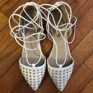 White Lace-Up Sandals with Spikes - Almost new!